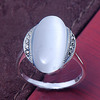 Luxury white jade attractive 925silver ring fashion lady's ring