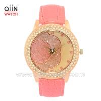 QU0135 No logo hot trending leather flower watch for women