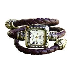 Stylish Snake Style Bangle Bracelet PU leather Knit Band Quartz Wrist Watch