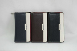 Newest trendy pu wallet for men with USB slot card holder zip purse frame business wallets silver metal logo wholesale