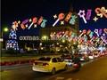 La calle principal de caramelo tema escena del árbol de navidad decoración luces del panel del LED