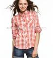 novos modelos de blusas da moda em 2014 xadrez azul escritório senhora camisa de tecido de algodão tipos