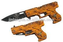 Gun shape knife spring assisted opened pocket knife