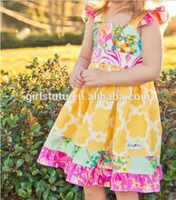 Cute toddle summer dress for kids sleeveless quatrefoil wholesale girls dresses cotton print children frocks for girls
