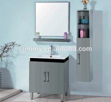 Satin Nickle Modern Waterproof Smart Design Bathroom Vanity with Side Cabinet (S-0109)