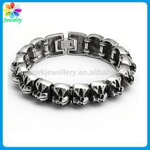 Top quality wide big skull charms titanium steel bracelet mesh stainless steel bracelet