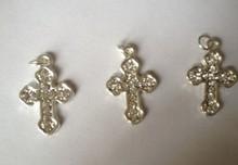 baptismal witness pin custom shiny rhinestone Cross pendant for jewlery finding