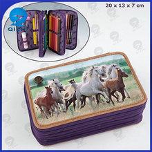 kids stylish horse dream triple pencil case