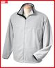 Branded fleece jacket in plain silver grey for men made of microfleece