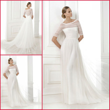 JM.Bridals CW2400 Elegant simple ivory tulle old fashioned wedding dresses half sleeve