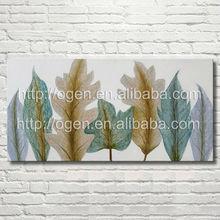 Aqua Leaves Rectangular Canvas Art oil painting china