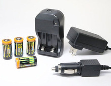 New CR123A charger and battery for camera,flashlights,torch