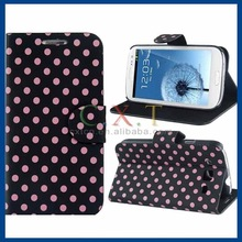 Polka Dot Print Faux Leather Flip Case for Samsung Galaxy S3 I9300 (Black)