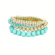 Shiny Stone and Metallic Beads Stretch Bracelets Set of 5 stainless steel stretch bracelet