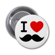 I heart / Love Moustaches / Mustaches Pin badge