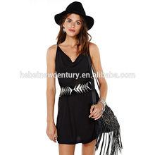Adjustable strap black swing get back waist dress china manufacturer