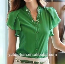 summer causal women chiffon blouse base lady sleeve v-neck lotus leaf shirt Nail bead OL 3 color S~2XL