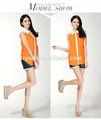 de encaje de moda collar de mujer blusa de gasa con teñido de color naranja
