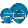 Branco rim mão- pintado de azul conjunto louça de grés