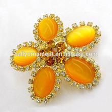 Orange Opal with acryl rhinestone shoe buckles