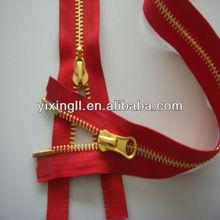 High quality closed end paint brass gun gold metal zipper suppliers