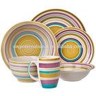 20pcs yellow and purple striped hand-painted dinnerware stoneware set