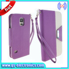 HOT Leather Wallet Cover Case for Samsung Galaxy Grand Stand Flip Cover Case for Samsung s5 i9600 with Credit Card