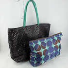 Laser cut PU Tote Bag with inner cosmetic bag