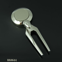 Factory made customized metal golf plug divot tool with coin