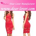 vermelho de malha de corte para fora da saia e top conjunto vestido de noite 2014