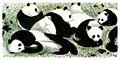 telha cerâmica da parede emoldurado pintura mural panda imagem para parque animal decoração da parede