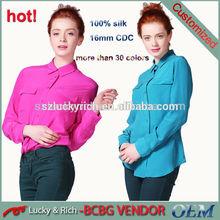 2014 China hot style woman washable silk shirts