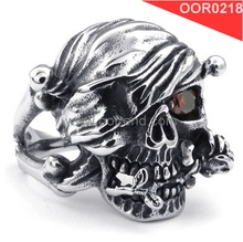 red eyes skull stainless steel forged rings inlay red zircon AAA