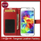 Genuine Real 100% Cowhide Leather Wallet Flip Case Folio Cover Red for S5