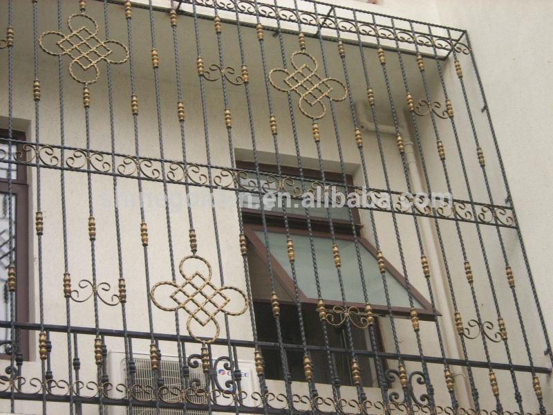 Gyd 15wg051 decorative luxury isteel window grill design for Balcony safety grill designs
