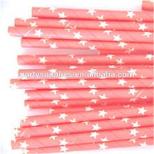 Light Pink Paper Straws Star Patter Straws for Dream Girls