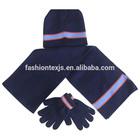 high quality winter warm striped boy glove & hat & scarf sets