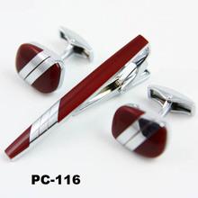 Men\s red cufflinks and tie clip set Gift set