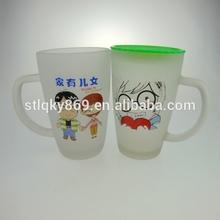 300ml frosted glass mug plastic lids glass mug for tea drinking water wholesale glass mugs
