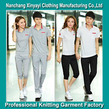 Couple Clothes Sports Wear Plain T-Shirt and Sport Pants / Wholesale Clothing Made in China Jiangxi Factory