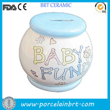 Ceramic cute baby fund blue and white coin box