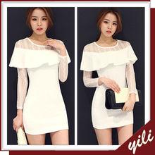 long sleeve women elegant white party dresses