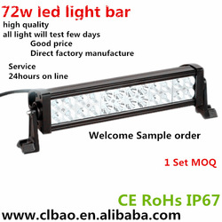 Guangzhou auto parts light bar manufacture of 72w led bar, light bars for security cars