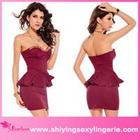 Hot Sale Wholesale Red Fashion Wrapped Chest Mini Dress peplum wedding dress