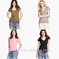 V Neck 100 Cotton Women Wholesale T Shirts Cheap T shirts In Bulk Plain T Shirts