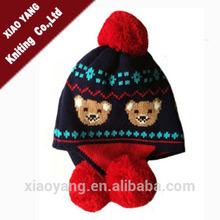 Fashion animal design pom pom knitting baby caps