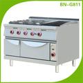 Ticari pişirme ekipmanları 4 brülör gaz aralığı lav kaya ızgara ve fırın bn-g811
