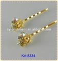 2014 nova moda banhado a ouro de cristal bobby pin acessórios de cabelo