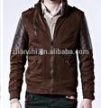 el último diseño de moda otoño invierno acolchada llanura de mezclilla para hombres de cuero chaqueta de manga