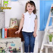 Baby girls polo t shirt and demin pants 1 set summer bulk wholesale kids trendy clothing